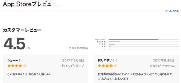アプリ評価もとても高い!